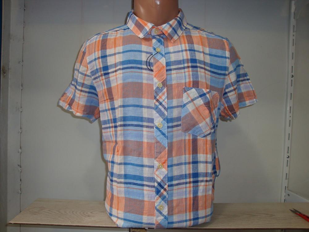 Распродажа! Мужская льняная рубашка в клетку с коротким рукавом H@M фото №1
