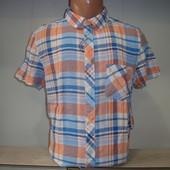 Распродажа! Мужская льняная рубашка в клетку с коротким рукавом H@M