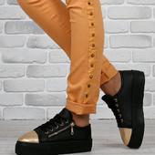 Слипоны Венгрия Zanotti золотой носок молния на шнуровке высокая платформа