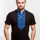 Вишиванка футболка з вишивкою синіми нитками