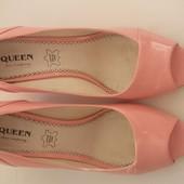 Туфли розовые лак 38 р. экокожа