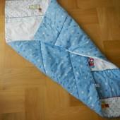 Next как новое детское одеяло 100х120 см. Нижняя сторона голубая в звезды, верх комбинированный, с а