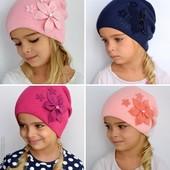 Двойная шапка для девочки Хлопок 60%. р. 52-56 (от 4 лет)