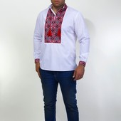 Мужская вышиванка с широким красным орнаментом