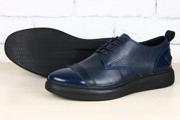 Кожаные спортивные туфли синие и черные фото №1
