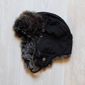 Шапка с меховой опушкой для мальчика. Осень-зима, тёплая. H&M. Размер 9-10 лет. Состояние: новой
