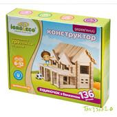 Домик с балконом Игротеко Конструктор из дерева (дуб) - 136 деталей