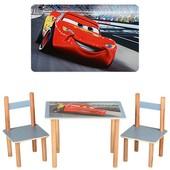 Детский столик деревянный f062, 2 стульчика,Тачки