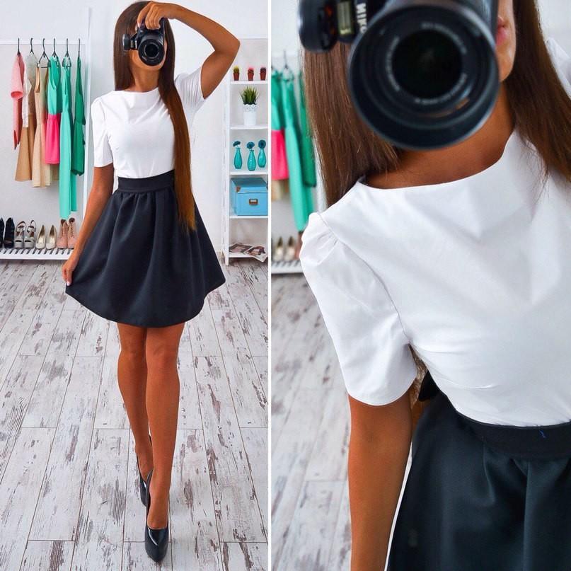 Платье верх белый низ черный