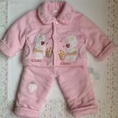 Тепленький демисезонный костюм для девочки до 1 года ( 68-80рр)