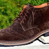 мужские кожаные/замшевые ботинки деми/зима цвета Код:М 339