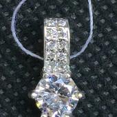 Новый родированный серебряный подвес с куб.цирконием Серебро 925 пробы