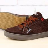 Мужские спортивные туфли коричневые из натуральной замши на шнурках