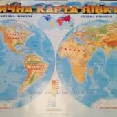 Физическая Карта Мира для Детей Большая Настенная
