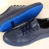 Мужские спортивные туфли синие кожаные на шнурках