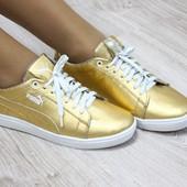 Кроссовки кожаные Puma золотистые.Наличие