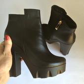 Осенняя обувь на каблуке из натур кожи/замши