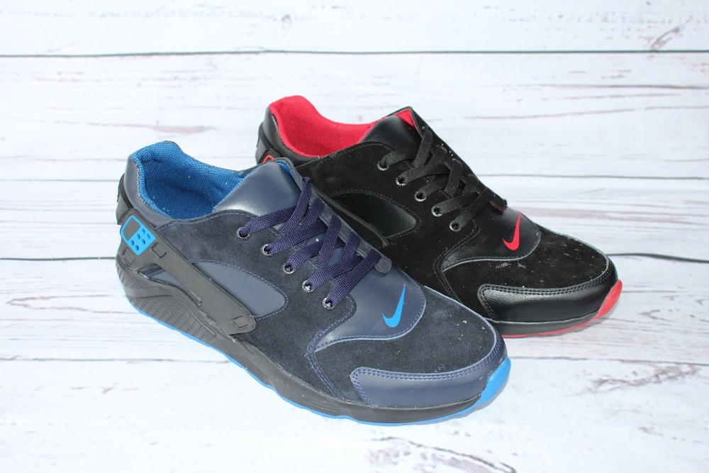 Кожаные мужские кроссовки демисезонные, 2 цвета фото №1