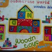 Деревянный конструктор Городок разноцветный, английский алфавит