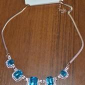 Колье с голубыми кристалами