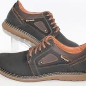 Мужские кожаные туфли черно-коричневого цвета