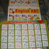 Плакат А2 настенный Абетка азбука английский украинский таблица умножения плотная мелованная бумага