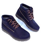 Ботинки Зима нубук синий