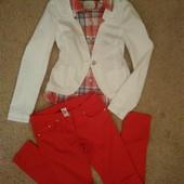 брендовый джинсовый белоснежный пиджак М-ка