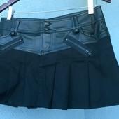 Юбка плиссе солнце джинсовая черная экокожа можно на Фотосессию Красивая