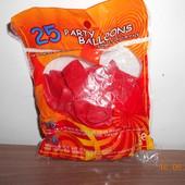 Надувные шарики, 25 штук, ярко красные сердечки