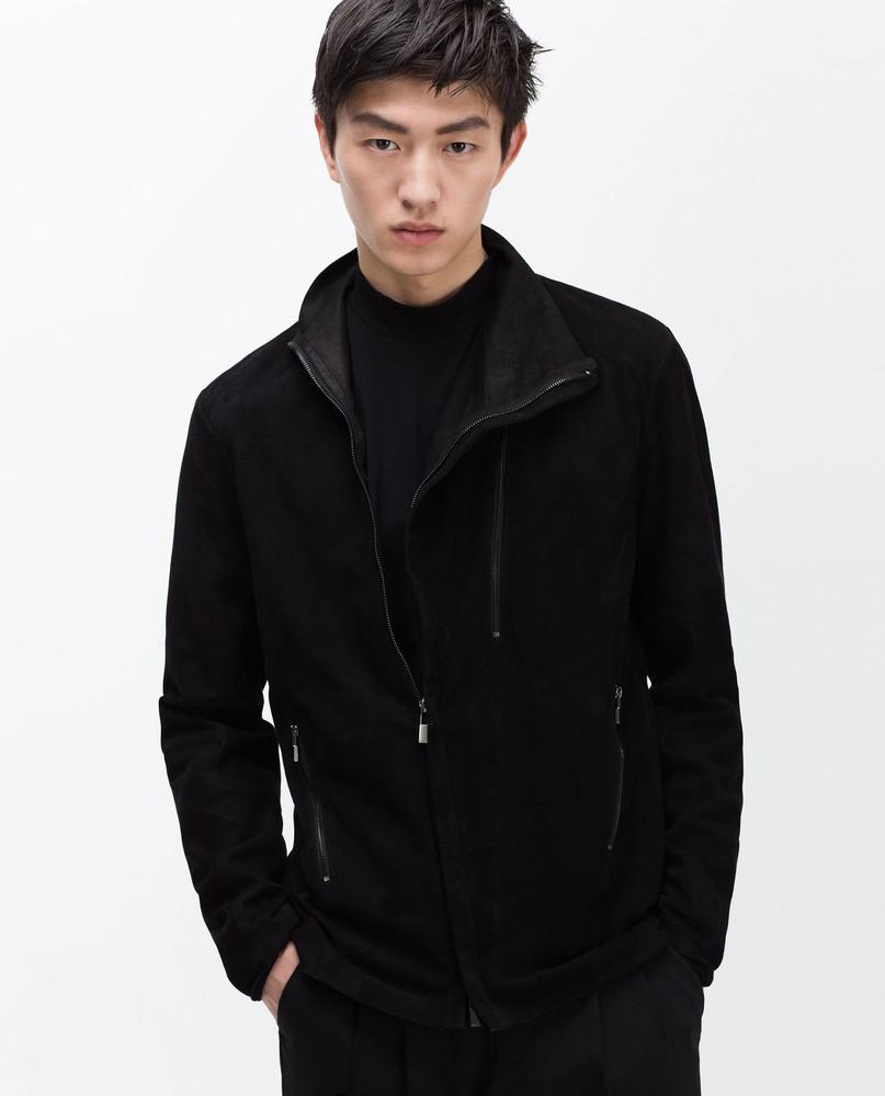 Модная мужская куртка из натуральной кожи от zara. лимитированая серия фото №1