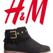 Ботинки демисезонные женские под замшу 37, 38р фирмы H&M Швеция
