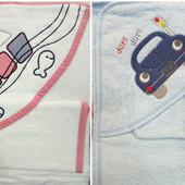 Махровое полотенце с уголком и рукавичкой Кораблик и Машинка, Турция.
