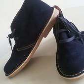 Ботинки нат замша, кожа, 42-45р, т.синий, Испания, новые