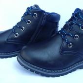 """Ботинки синие осенние на мальчика на змейке и шнурках, К6262, ТМ """"EeBb"""", размеры: 32, 33, 34, 35, 36"""