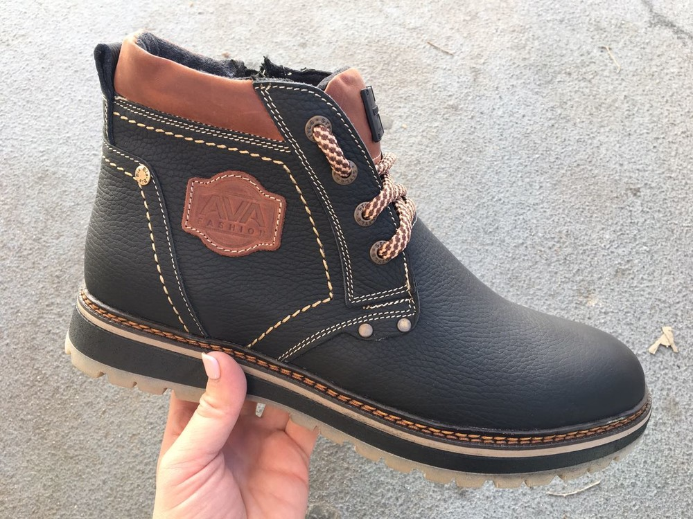 Мужские кожаные ботинки, зима, разные цвета фото №7