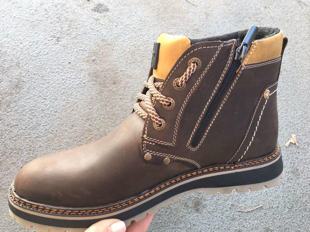 Мужские кожаные ботинки, зима, разные цвета фото №10