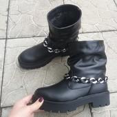 Зимние кожаные натуральные ботинки сапоги сапожки с цепью на меху