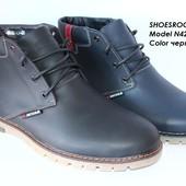 Кожаные мужские ботинки, зима, 2 цвета