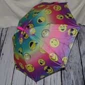Яркий зонтик зонт детский полуавтомат с изображением смайликов смайлик тканевый