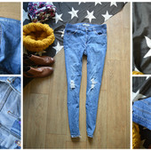 Крутые джинсы-скинни для беременных с рванками,р-р М