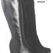 Женские кожаные сапоги, кожа и замша, демисезонные