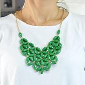 Ожерелье Модельер, зеленое, розовое и оранжевое