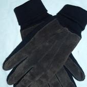 Мужские замшевые перчатки,утепленные,р-р универсальный,сток