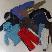 10 вещей джинсы, штаны, теплые кофты пакетом р. 80-86 на 1-1,5 года