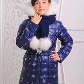 Куртка зимняя для девочки с шарфом
