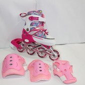 Ролики набор Line-Shoes размеры 28-31. 32-36 синий, розовый.