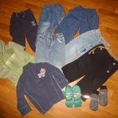 Пакет вещей 104 рост 4 года на мальчика джинсы, штаны, кофта, флиска, рукавицы, краги