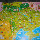 Карта Украины настенная детская формат А2 42на59,5см плотная мелованная бумага