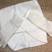 Снуд перчатки молочного цвета